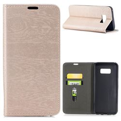 Tree Bark Pattern Automatic suction Leather Wallet Case for Samsung Galaxy S8 Plus S8+ - Champagne Gold