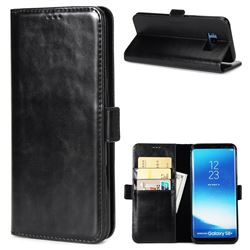 Luxury Crazy Horse PU Leather Wallet Case for Samsung Galaxy S8 Plus S8+ - Black