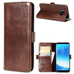 Luxury Crazy Horse PU Leather Wallet Case for Samsung Galaxy S8 Plus S8+ - Coffee