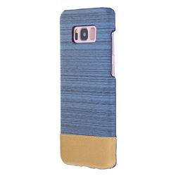 Canvas Cloth Coated Plastic Back Cover for Samsung Galaxy S8 Plus S8+ - Light Blue