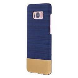 Canvas Cloth Coated Plastic Back Cover for Samsung Galaxy S8 Plus S8+ - Dark Blue