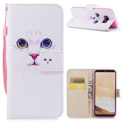 White Cat PU Leather Wallet Case for Samsung Galaxy S8 Plus S8+