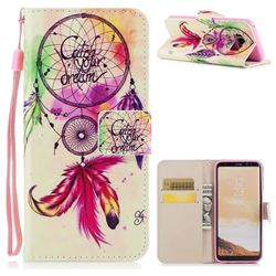 Feather Wind Chimes PU Leather Wallet Case for Samsung Galaxy S8 Plus S8+