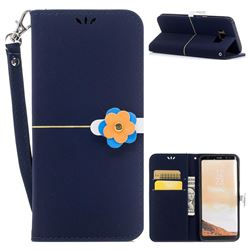 Gold Velvet Smooth PU Leather Wallet Case for Samsung Galaxy S8 Plus S8+ - Navy Blue
