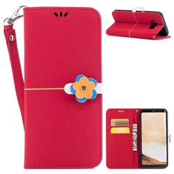 Gold Velvet Smooth PU Leather Wallet Case for Samsung Galaxy S8 Plus S8+ - Red