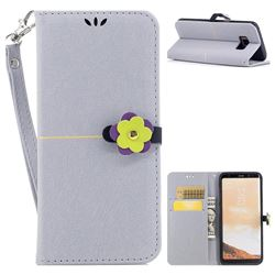 Gold Velvet Smooth PU Leather Wallet Case for Samsung Galaxy S8 Plus S8+ - Grey