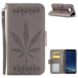 Intricate Embossing Maple Leather Wallet Case for Samsung Galaxy S8 Plus S8+ - Gray