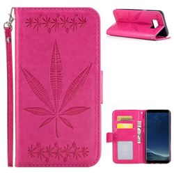 Intricate Embossing Maple Leather Wallet Case for Samsung Galaxy S8 Plus S8+ - Rose
