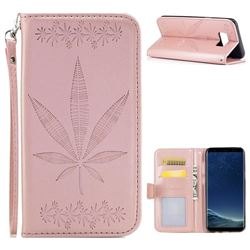 Intricate Embossing Maple Leather Wallet Case for Samsung Galaxy S8 Plus S8+ - Rose Gold