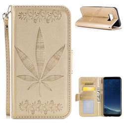 Intricate Embossing Maple Leather Wallet Case for Samsung Galaxy S8 Plus S8+ - Champagne