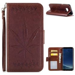 Intricate Embossing Maple Leather Wallet Case for Samsung Galaxy S8 Plus S8+ - Brown