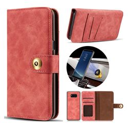 Luxury Vintage Split Separated Leather Wallet Case for Samsung Galaxy S8 Plus S8+ - Carmine