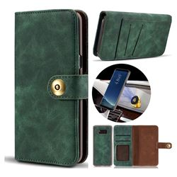 Luxury Vintage Split Separated Leather Wallet Case for Samsung Galaxy S8 Plus S8+ - Dark Green