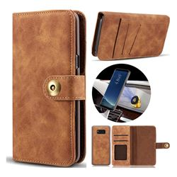 Luxury Vintage Split Separated Leather Wallet Case for Samsung Galaxy S8 Plus S8+ - Brown