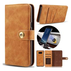 Luxury Vintage Split Separated Leather Wallet Case for Samsung Galaxy S8 Plus S8+ - Khaki