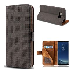 Luxury Vintage Mesh Monternet Leather Wallet Case for Samsung Galaxy S8 Plus S8+ - Black