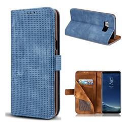 Luxury Vintage Mesh Monternet Leather Wallet Case for Samsung Galaxy S8 Plus S8+ - Blue