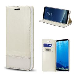 Magnetic Suck Stitching Slim Leather Wallet Case for Samsung Galaxy S8 Plus S8+ - White