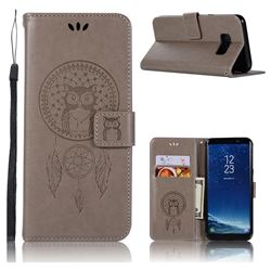 Intricate Embossing Owl Campanula Leather Wallet Case for Samsung Galaxy S8 Plus S8+ - Grey