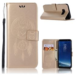 Intricate Embossing Owl Campanula Leather Wallet Case for Samsung Galaxy S8 Plus S8+ - Champagne