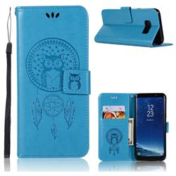 Intricate Embossing Owl Campanula Leather Wallet Case for Samsung Galaxy S8 Plus S8+ - Blue
