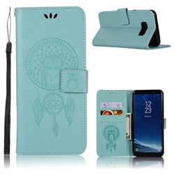 Intricate Embossing Owl Campanula Leather Wallet Case for Samsung Galaxy S8 Plus S8+ - Green