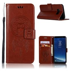 Intricate Embossing Owl Campanula Leather Wallet Case for Samsung Galaxy S8 Plus S8+ - Brown