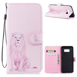 Pink Lion PU Leather Wallet Case for Samsung Galaxy S8 Plus S8+