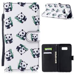 Panda Eating Bamboo PU Leather Wallet Case for Samsung Galaxy S8 Plus S8+