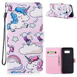 Cartoon Unicorn PU Leather Wallet Case for Samsung Galaxy S8 Plus S8+