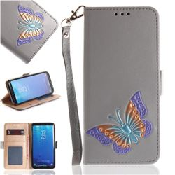 Imprint Embossing Butterfly Leather Wallet Case for Samsung Galaxy S8 Plus S8+ - Grey