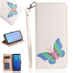 Imprint Embossing Butterfly Leather Wallet Case for Samsung Galaxy S8 Plus S8+ - White