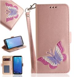 Imprint Embossing Butterfly Leather Wallet Case for Samsung Galaxy S8 Plus S8+ - Rose Gold