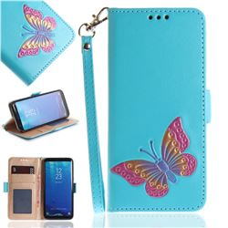 Imprint Embossing Butterfly Leather Wallet Case for Samsung Galaxy S8 Plus S8+ - Sky Blue