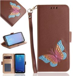Imprint Embossing Butterfly Leather Wallet Case for Samsung Galaxy S8 Plus S8+ - Brown
