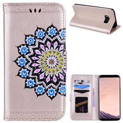 Datura Flowers Flash Powder Leather Wallet Holster Case for Samsung Galaxy S8 Plus S8+ - Golden