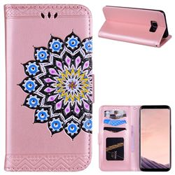 Datura Flowers Flash Powder Leather Wallet Holster Case for Samsung Galaxy S8 Plus S8+ - Pink