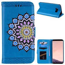Datura Flowers Flash Powder Leather Wallet Holster Case for Samsung Galaxy S8 Plus S8+ - Blue