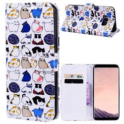 Mini Cat 3D Relief Oil PU Leather Wallet Case for Samsung Galaxy S8 Plus S8+