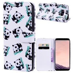Bamboo Panda 3D Relief Oil PU Leather Wallet Case for Samsung Galaxy S8 Plus S8+