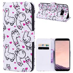 Alpaca 3D Relief Oil PU Leather Wallet Case for Samsung Galaxy S8 Plus S8+