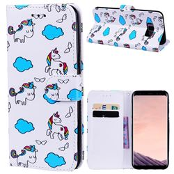 Cloud Horse 3D Relief Oil PU Leather Wallet Case for Samsung Galaxy S8 Plus S8+