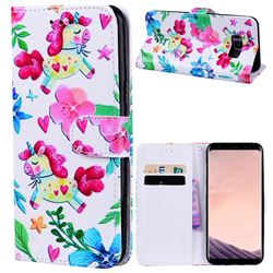 Flowers Unicorns 3D Relief Oil PU Leather Wallet Case for Samsung Galaxy S8 Plus S8+