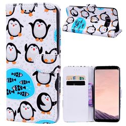 Penguin 3D Relief Oil PU Leather Wallet Case for Samsung Galaxy S8 Plus S8+