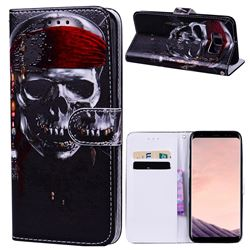 Skull Head 3D Relief Oil PU Leather Wallet Case for Samsung Galaxy S8 Plus S8+