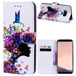 Flower Girl 3D Relief Oil PU Leather Wallet Case for Samsung Galaxy S8 Plus S8+