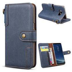 Retro Luxury Cowhide Leather Wallet Case for Samsung Galaxy S8 Plus S8+ - Blue