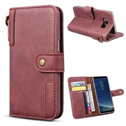 Retro Luxury Cowhide Leather Wallet Case for Samsung Galaxy S8 Plus S8+ - Wine Red