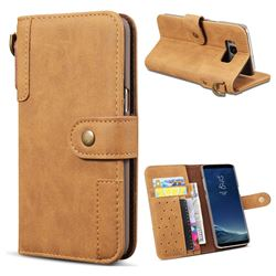 Retro Luxury Cowhide Leather Wallet Case for Samsung Galaxy S8 Plus S8+ - Brown