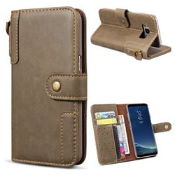 Retro Luxury Cowhide Leather Wallet Case for Samsung Galaxy S8 Plus S8+ - Coffee